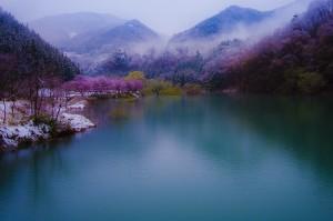 春の赤谷湖